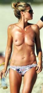 Heidi Klum Oben Ohne am Strand