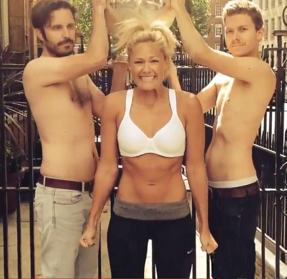 Helene Fischer beim Ice Bucket Challenge im BH und Bauchfrei